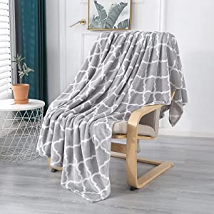 Smile Bee Flannel Fleece Blanket, Super Soft Cozy Plush Blanket, Lightweight Microfiber Throw Blankets for Couch Sofa Bed, Moroccan, Throw Size (50x60 inches, Grey)