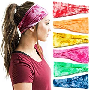 Headbands For Women, 6 PCS Yoga Running Sports Cotton Headbands Tie Dye Elastic Non Slip Sweat Headbands Workout Fashion Hair Bands for Girls
