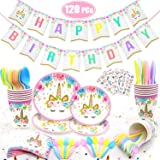 120 PCs Unicorn Party Supplies Kit Serves 16 Unicorn Birthday Party Supplies Happy Birthday Banner Cake Cutter Candles…