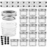 VERONES Mason Jars Canning Jars, 4 OZ Jelly Jars With Regular Lids and Bands, Ideal for Jam, Honey, Wedding Favors, Shower Fa
