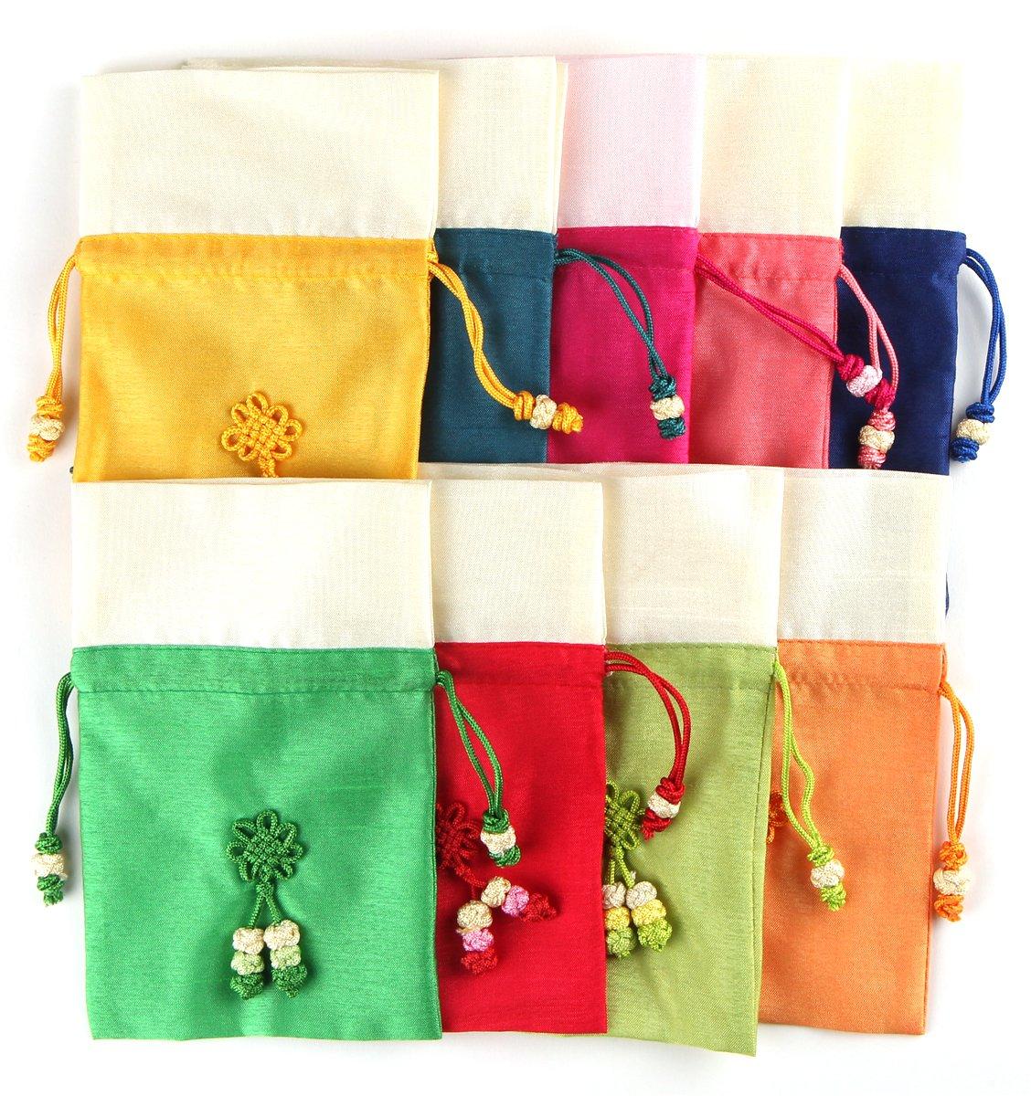 Amazon 9pcs Korean Small Size Silk Lucky Bag Bokjumeoni Travel
