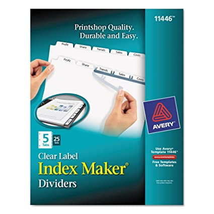 Amazoncom Avery Print Apply Clear Label Dividers Index Maker - Avery print on tabs template