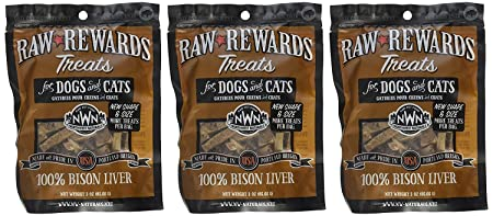 3 Pack Northwest Naturals Raw Rewards Freeze Dried Bison Liver Treats, 3 Ounces Each