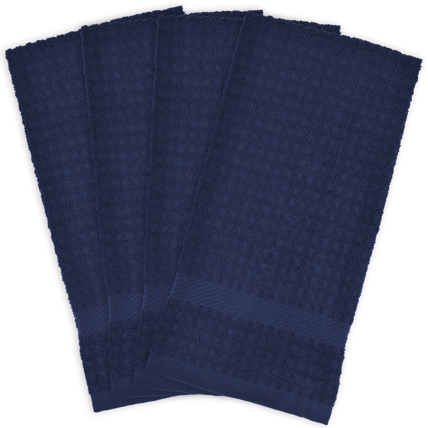 """DII Cotton Waffle Terry Dish Towels, 15 x 26"""" Set of 4, Ultra Absorbent, Heavy Duty, Drying & Cleaning Kitchen Towels-Nautical Blue"""