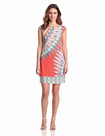 Donna Morgan Women's Sheath Dress With Boat Neck, Grpfrt Multi, 2