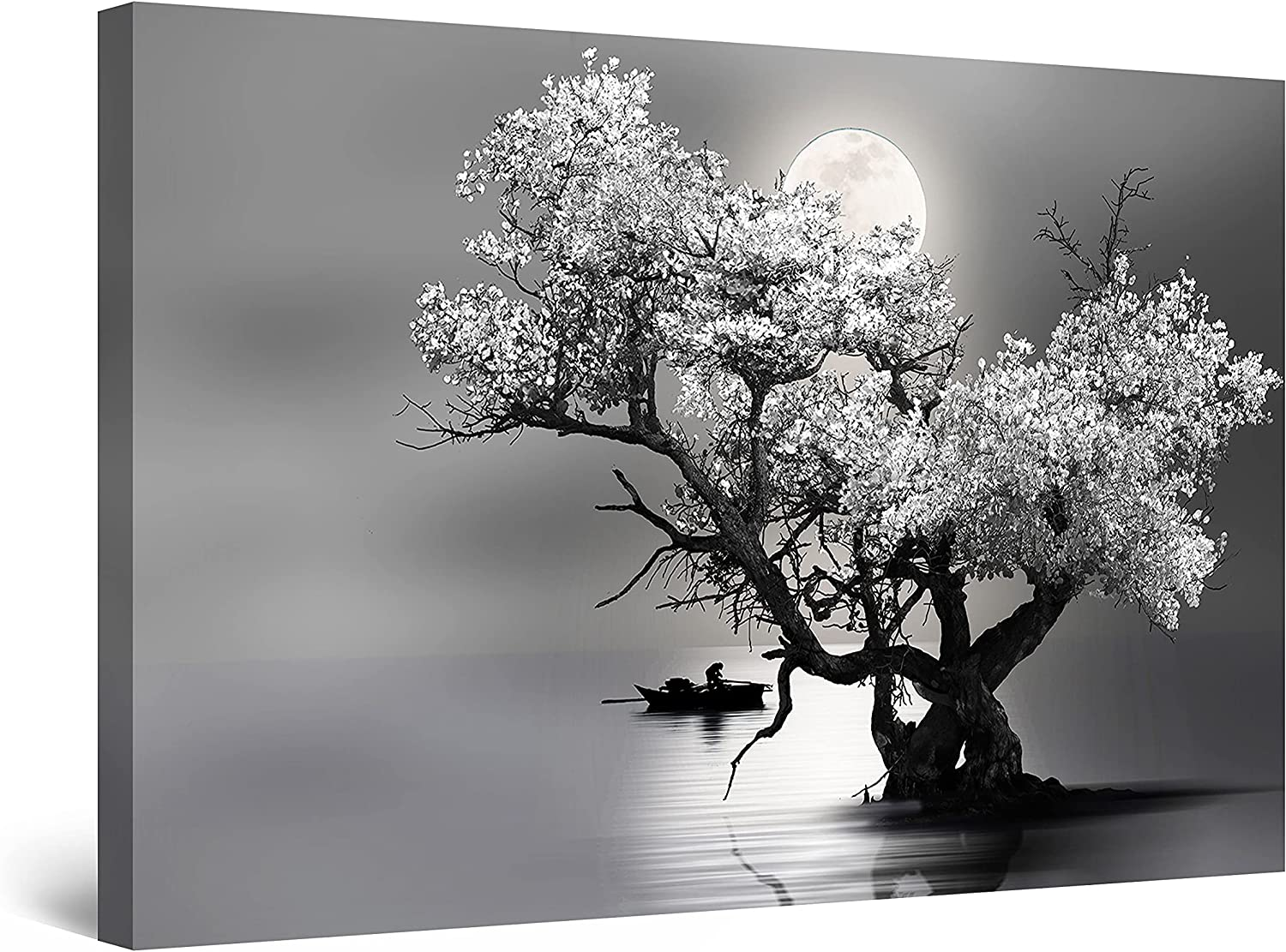 Startonight Canvas Wall Art Decor Flower Tree and Moon Black and White Painting for Living Room 32