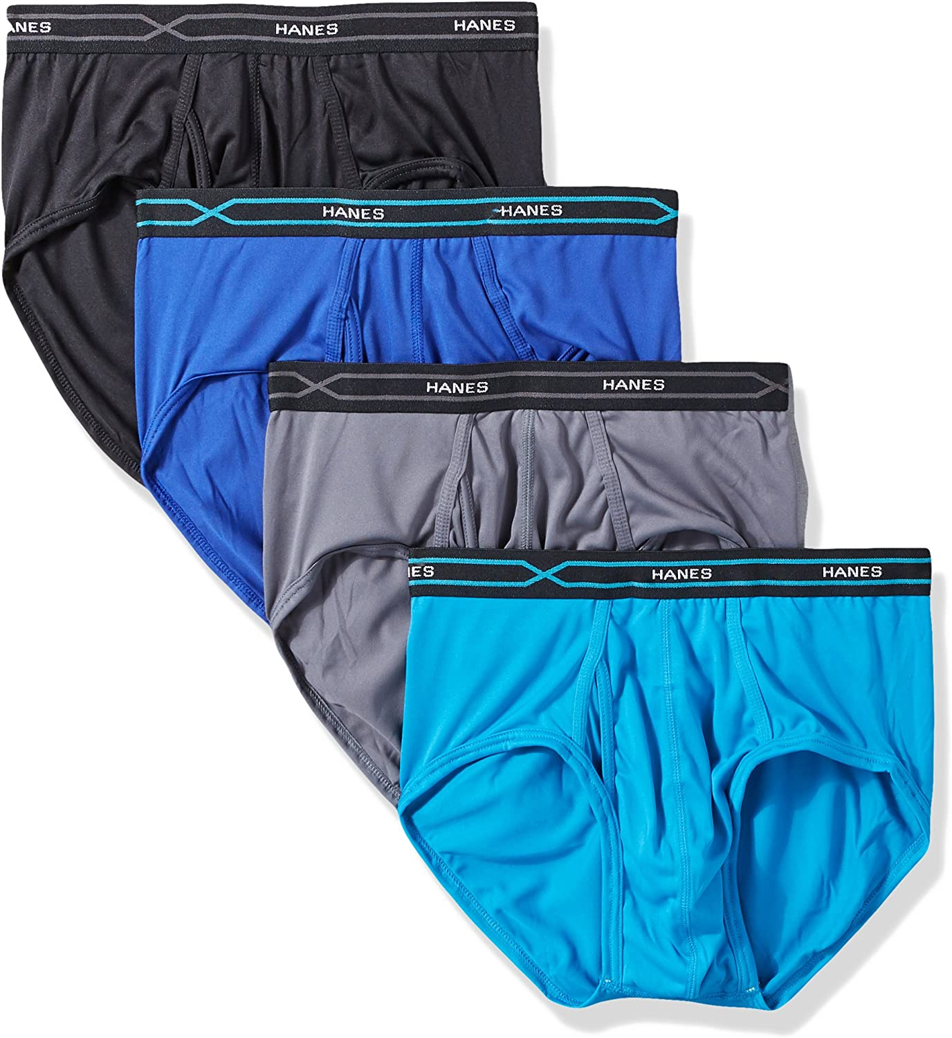 Hanes Mens 4-Pack X-Temp Performance Cool Polyester Dyed Briefs