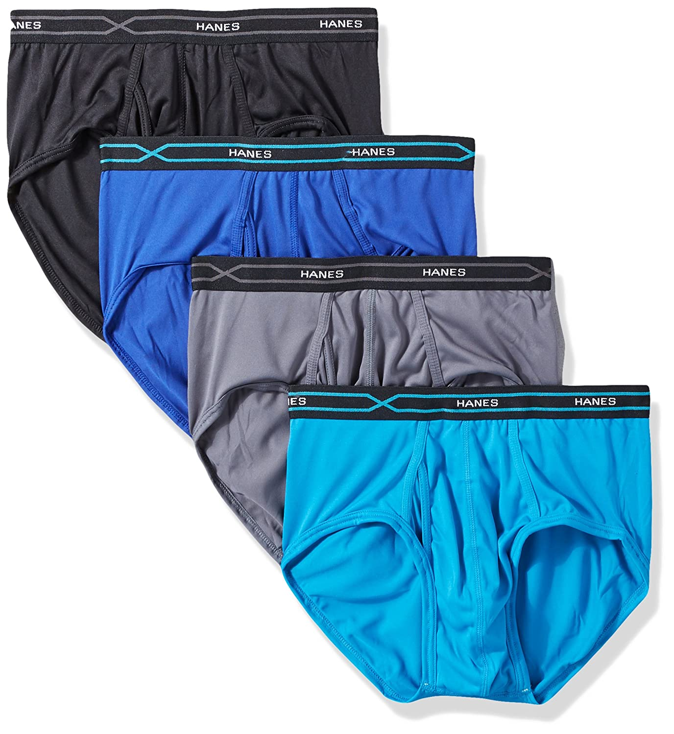 Hanes Men's 4-Pack X-Temp Performance Cool Polyester Dyed Briefs PXBPB4