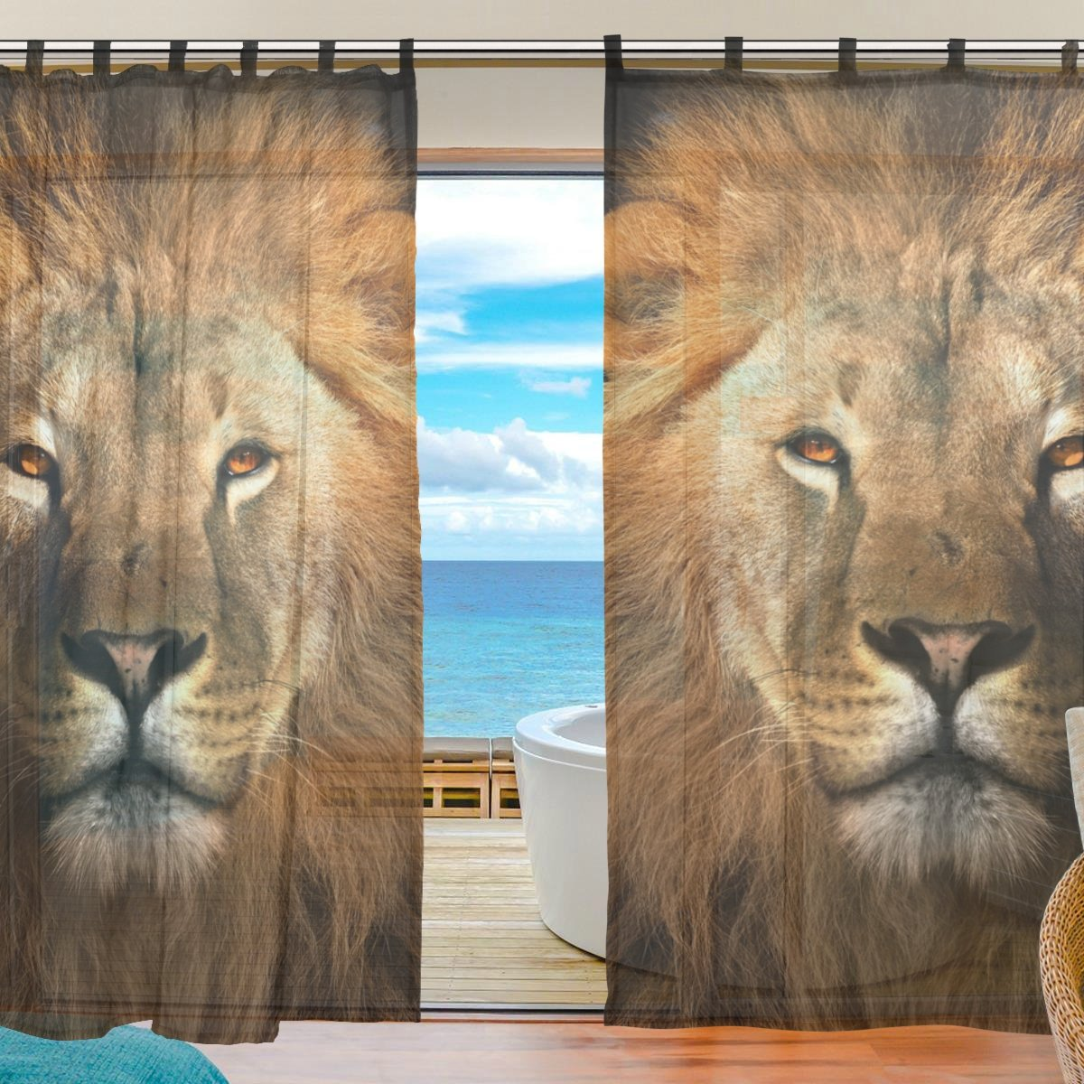 "La Random Lion King Window Sheer Voile Curtains for Living Room Bedroom Kids Room Curtains Polyester 55""Wx78""L Per Panel Set of 2 Panels"