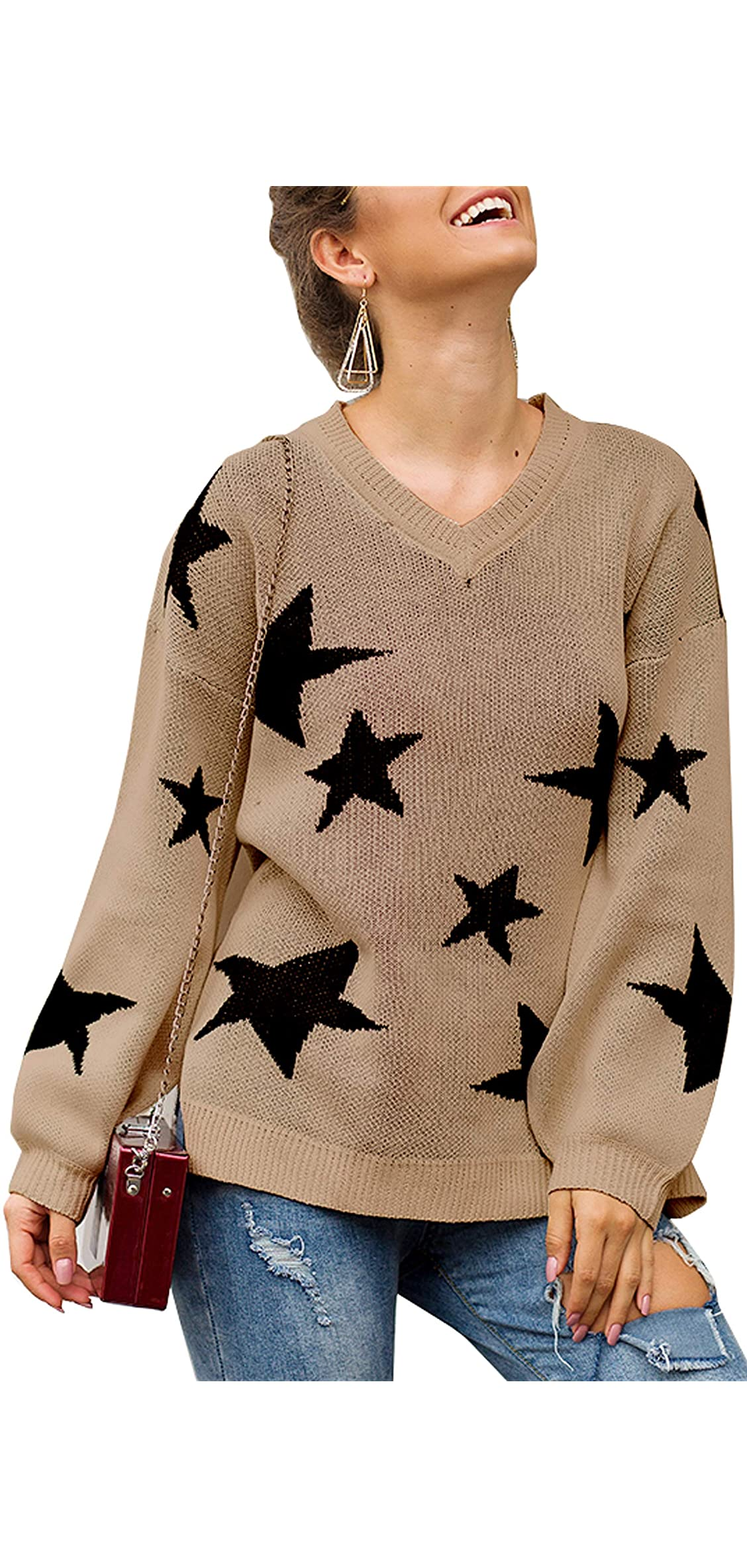 Women Knit Sweaters Long Sleeves V Neck Pullover Loose