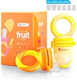 NatureBond Baby Food Feeder / Fruit Feeder Pacifier (2 PCs) - Infant Teething Toy Nibbler Teether and Silicone Food Pouches in Appetite Stimulating Colors | Includes 6 PCs All Sizes Silicone Sacs (Sunshine Orange & Lemonade Yellow)