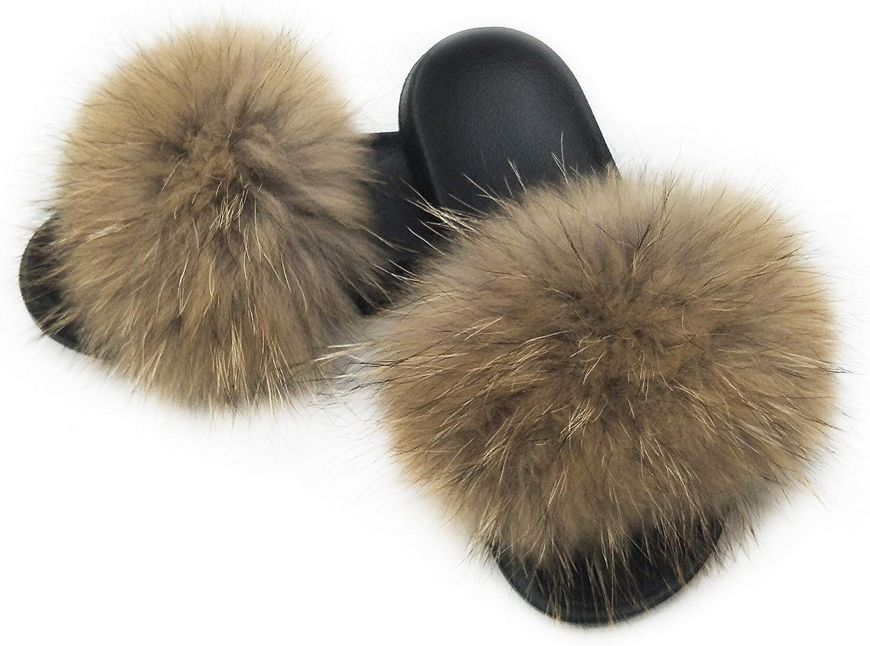 Raccoon Fur Slippers/Slides