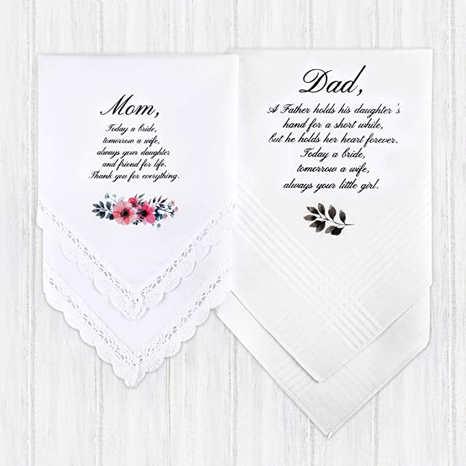 Wedding Handkerchief Parent Set Father Gift Custom Handkerchief Lemon Blossom Parents Wedding Gift Mother of the Bride Gift