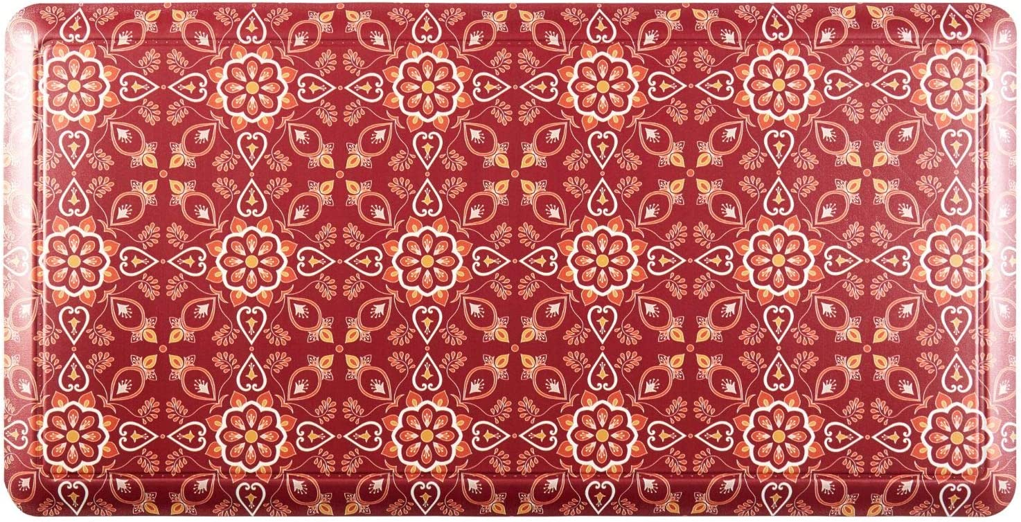 """Home Dynamix Printed Embossed Gentle Step Anti-Fatigue Kitchen Mat, 19.6""""x39.3"""", Floral Medallion"""