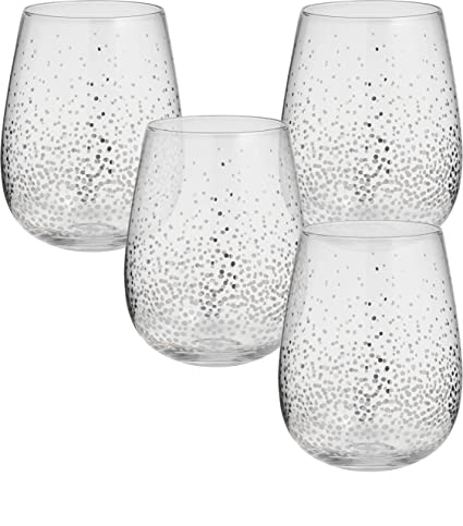 0020f16a346 Circleware 76827 Silver Confetti Stemless Wine Glasses, Set of 4 Drinking  Glassware for Water,
