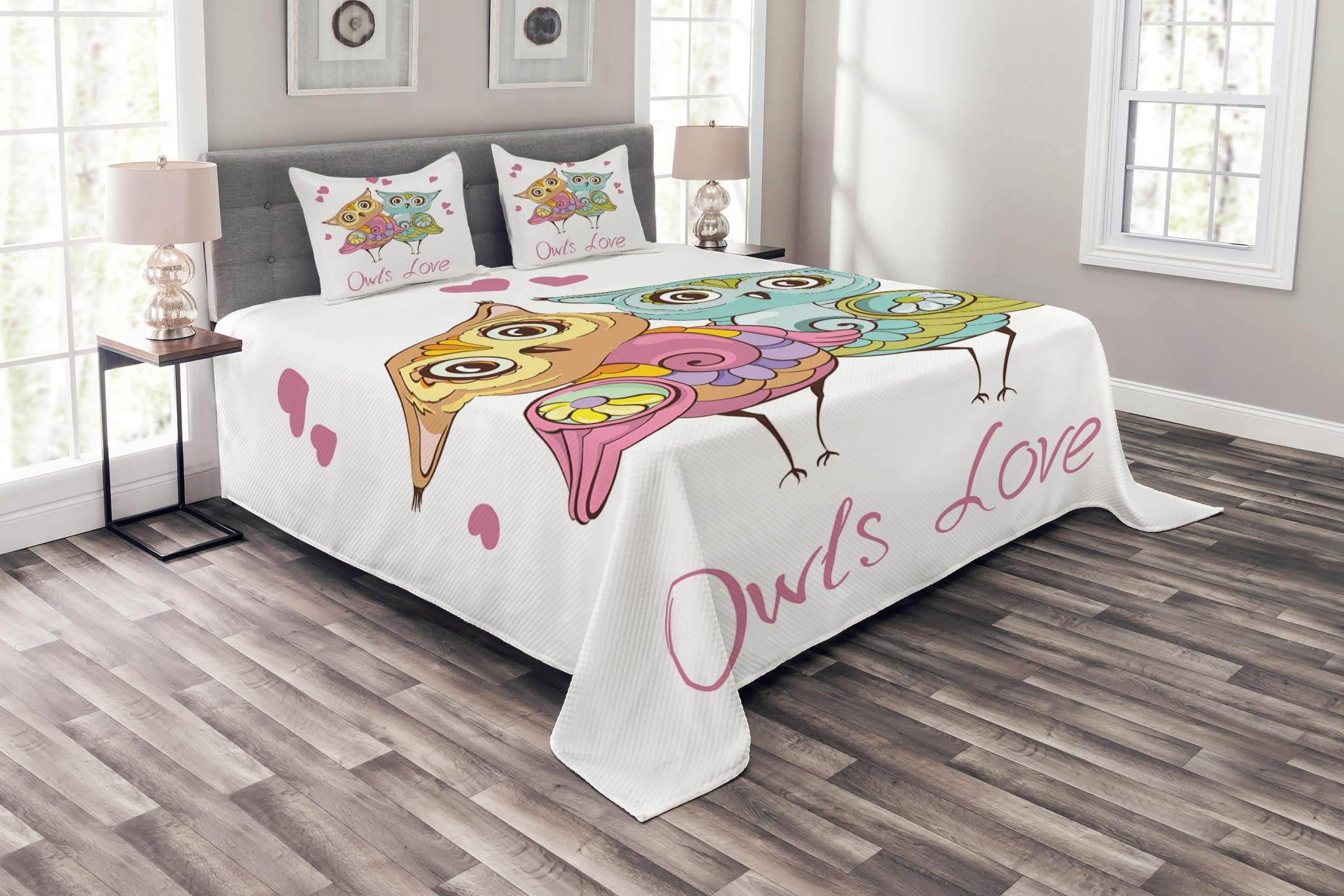 Lunarable Animals Bedspread Set King Size, Love Birds Owls Couples Family Anniversary Birthday Happiness Holiday Illustration, Decorative Quilted 3 Piece Coverlet Set with 2 Pillow Shams, Multicolor