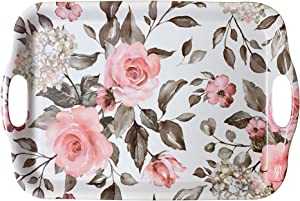 April Box–Melamine Serving Tray–Elegant Plastic Serving Tray–18 x 12 x 1-inch Large Serving Platter with Floral Print–Top-Quality Materials and Durable Design–Integrated Side Handles
