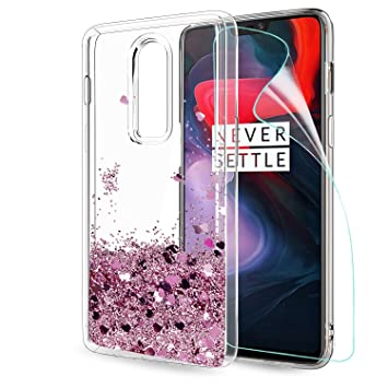 size 40 6b7fa bd7d6 LeYi Oneplus 6 Case with HD Screen Protector, Girl Women 3D Glitter Liquid  Moving Cute Personalised Clear Transparent Silicone Gel TPU Shockproof ...