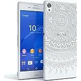 EAZY CASE Handy-Hülle für Sony Xperia Z Weiß Transparent | Ultra Slim TPU Silikon Smartphone Case Indische Sonne Design klar