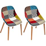 Adeco Beechwood Chairs with Natural Wooden Leg Modern Patchwork Upholstered Multicolor, Set of 2
