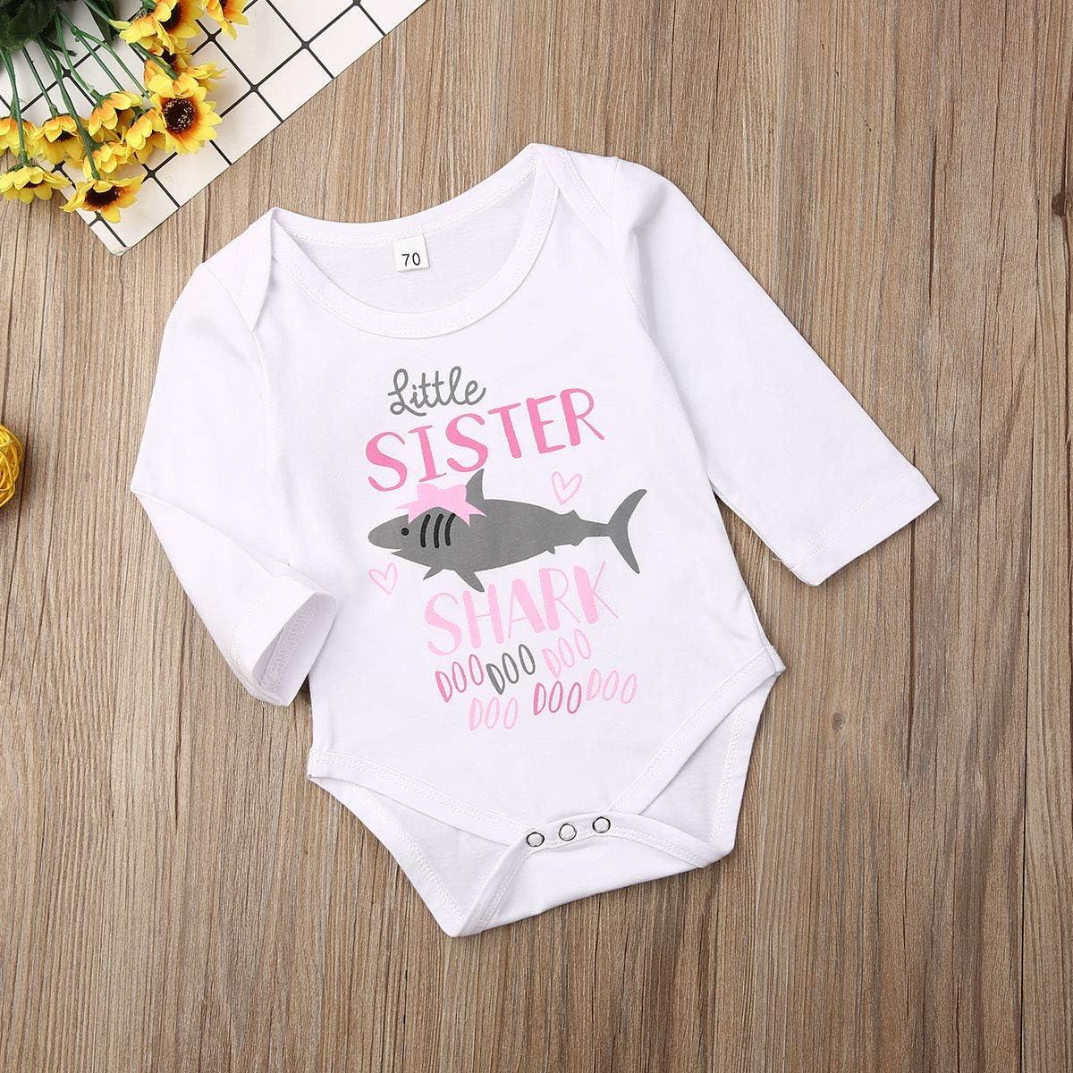 Shirt Sister Brother Matching Summer Clothes Newborn Infant Baby Boys Short Sleeve Romper Kids Toddler Girls Shark T