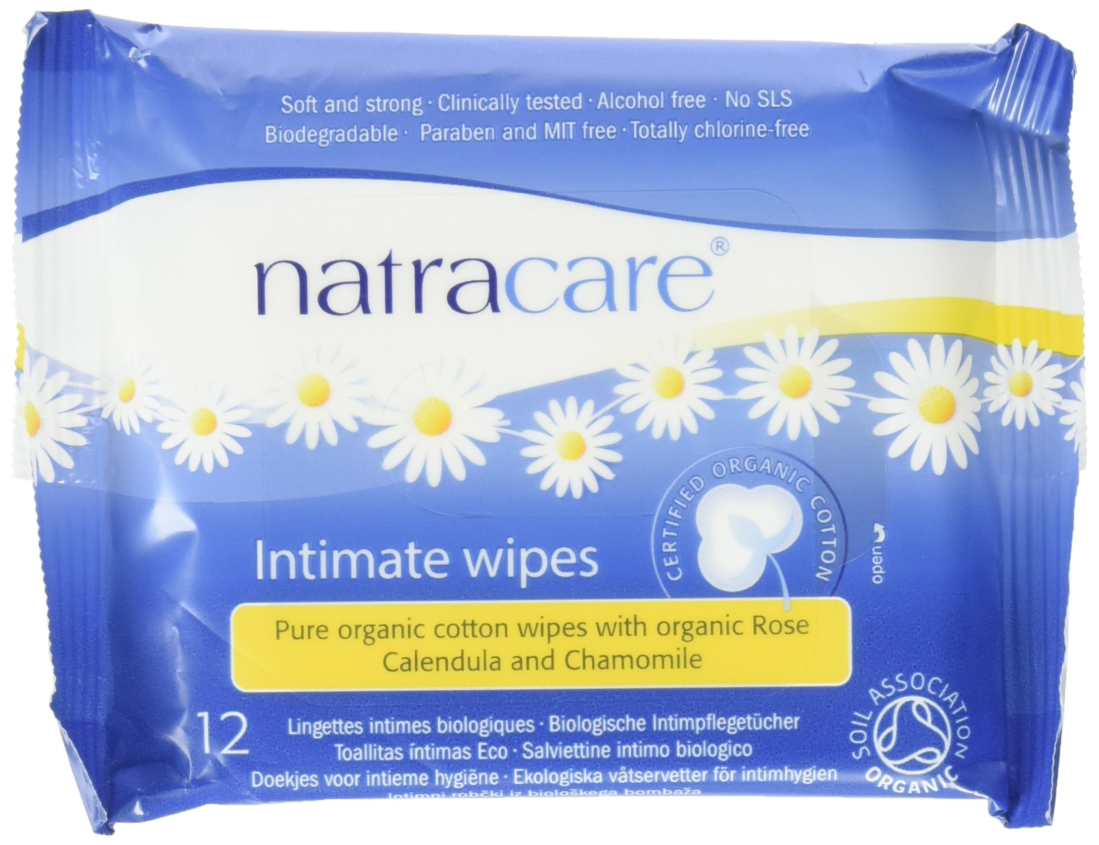 Natracare Organic Intimate Cotton Wipe - 12 Pack Value Size (144 Wipes Total)