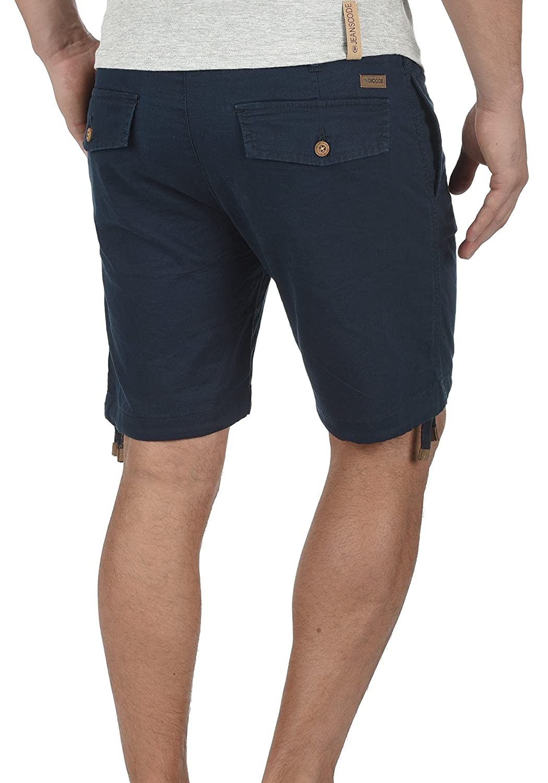 Indicode Moses Pantal/ón Corto Shorts De Lino Bermuda Regular-Fit