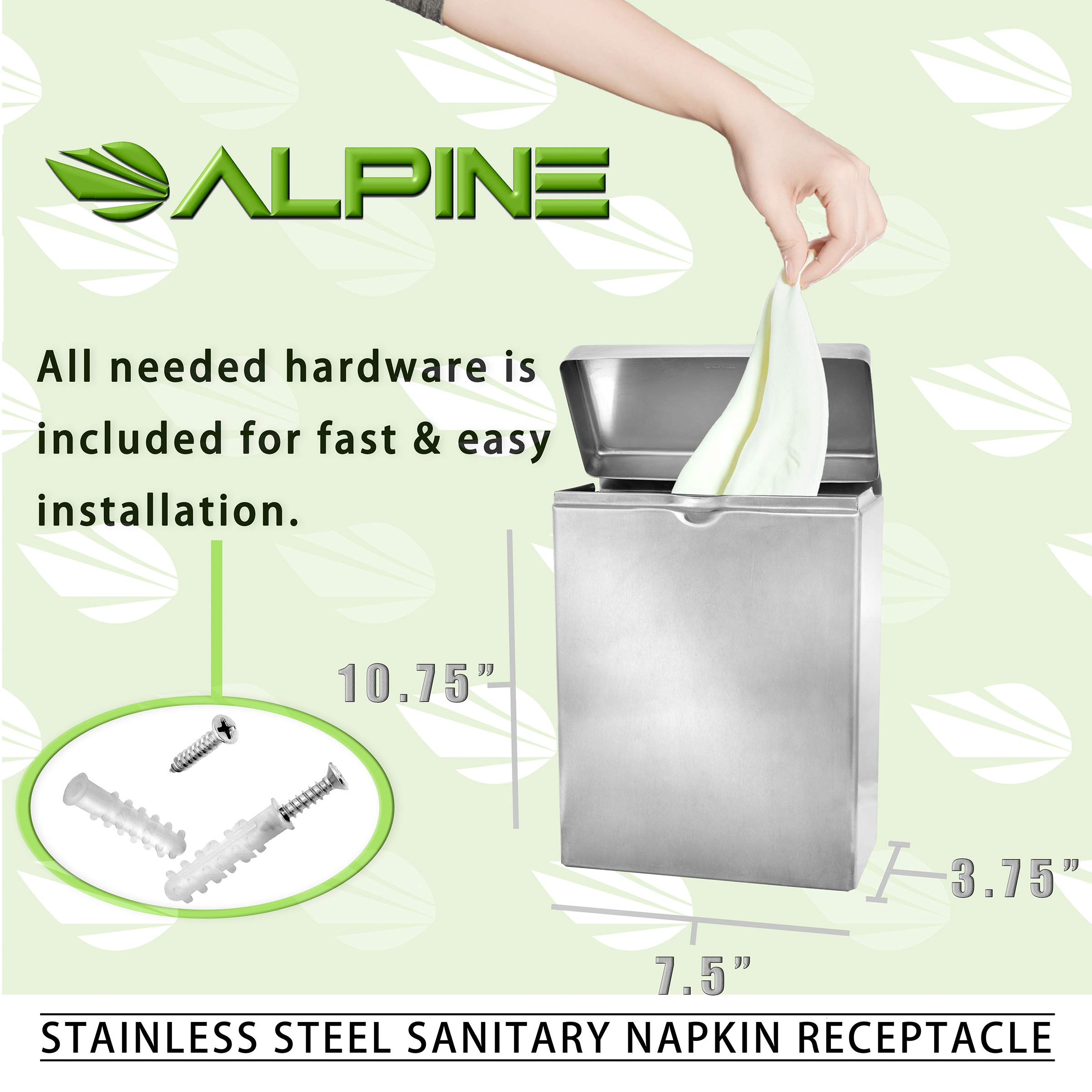 Alpine Industries Sanitary Napkin Receptacle - Easy Install, Wall Mounted Container - Provides Clean & Odor-Free Restroom for Home & Public Restrooms by Alpine Industries (Image #5)