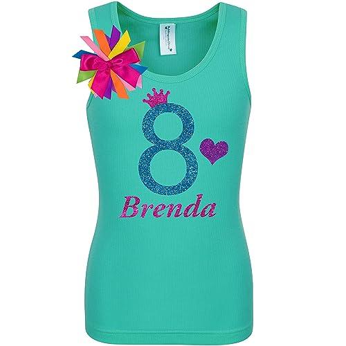 33ca4609fbd50 Amazon.com: Girls 8th Birthday Shirt Blue Glitter Rainbow T-Shirt Tank Top  Custom Name Age 8 Party Gift: Handmade