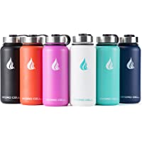 HYDRO CELL Stainless Steel Water Bottle Straw & Wide Mouth Lids (40oz, 32oz, 22oz, 18oz) - Keeps Liquids Perfectly Hot Cold Double Wall Vacuum Insulated Sweat Proof Sport Design