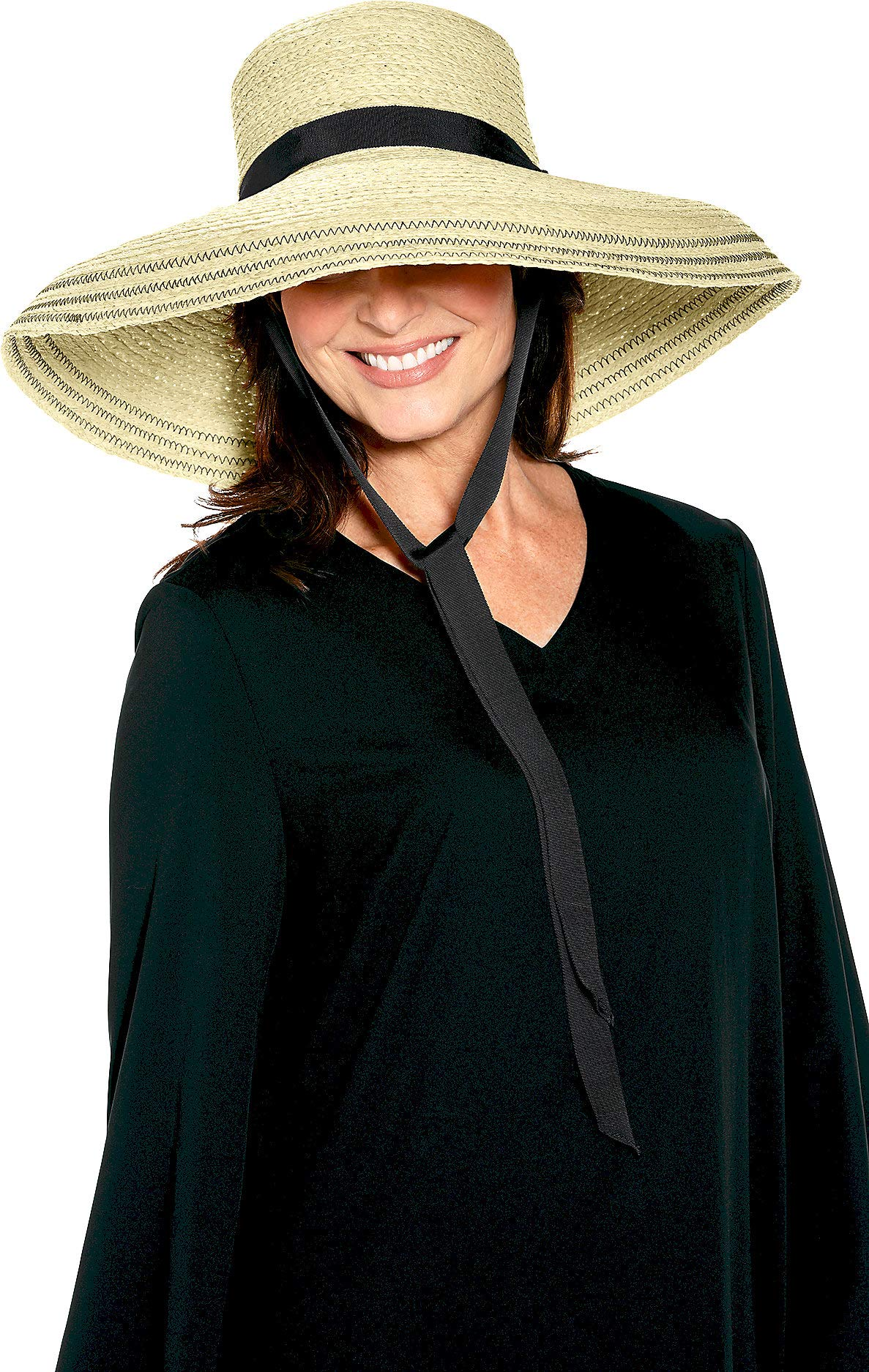 Coolibar UPF 50+ Women's Loren Fabulous Sun Hat - Sun Protective (One Size- Natural)
