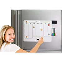 """Magnetic Monthly Weekly Multipurpose Board with Advanced No Stains Technology for Refrigerator, Kitchen Fridge Calendar, Daily planner, Office sales tracker, White Board Dry Erase Organizer-16x12"""""""