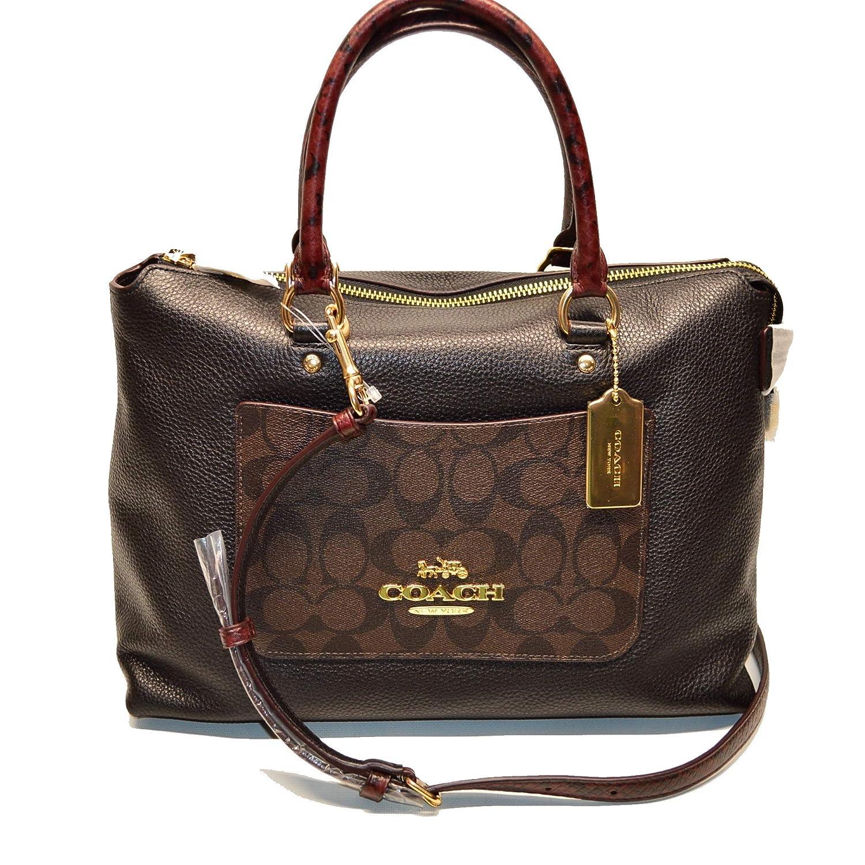 66bdeb144360 COACH Emma Satchel In Signature Canvas Colorblock Brown Black Crossbody  Handbag f34280  Handbags  Amazon.com