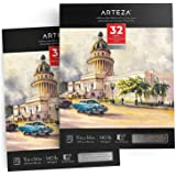 "ARTEZA 11x14"" Expert Watercolor Pad, Pack of 2, 64 Sheets (140lb/300gsm), Cold Pressed, Acid Free Paper, 32 Sheets Each, Ideal for Watercolor Techniques and Mixed Media"