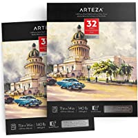 "ARTEZA Watercolor Pad Expert 11x14"", Pack of 2, 64 Sheets (140lb/300gsm), Cold Pressed, Acid Free Paper, 32 Sheets Each, Ideal for Watercolor Techniques and Mixed Media"