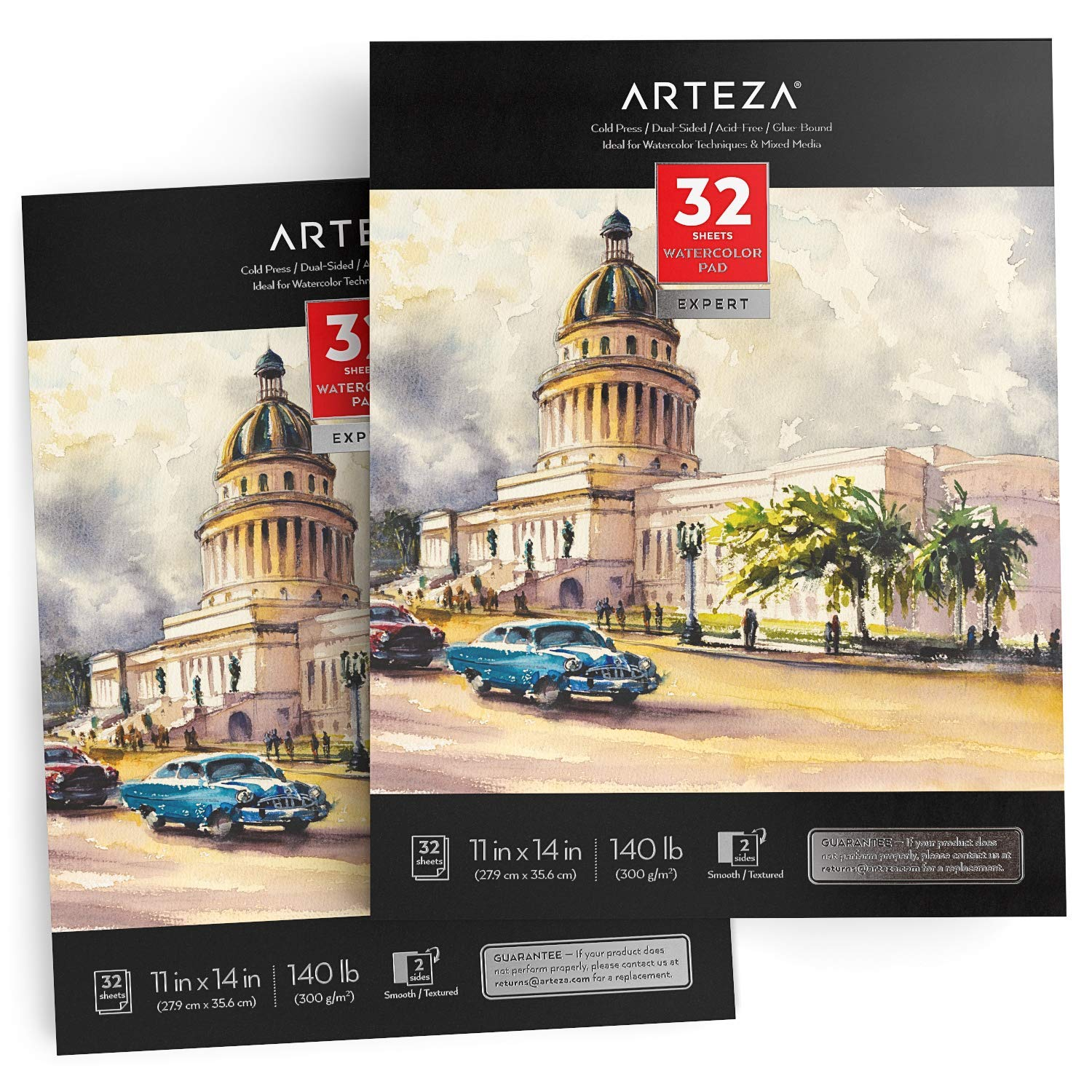 ARTEZA 11x14'' Expert Watercolor Pad, Pack of 2, 64 Sheets (140lb/300gsm), Cold Pressed, Acid Free Paper, 32 Sheets Each, Ideal for Watercolor Techniques and Mixed Media