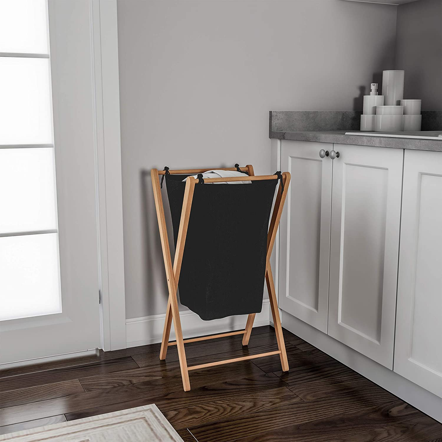 Lavish Home Foldable Bamboo Laundry Hamper-Lightweight Space Saving Collapsible X-Frame Linen Sorter with Natural Finish for Home or Dorm Trademark 83-108