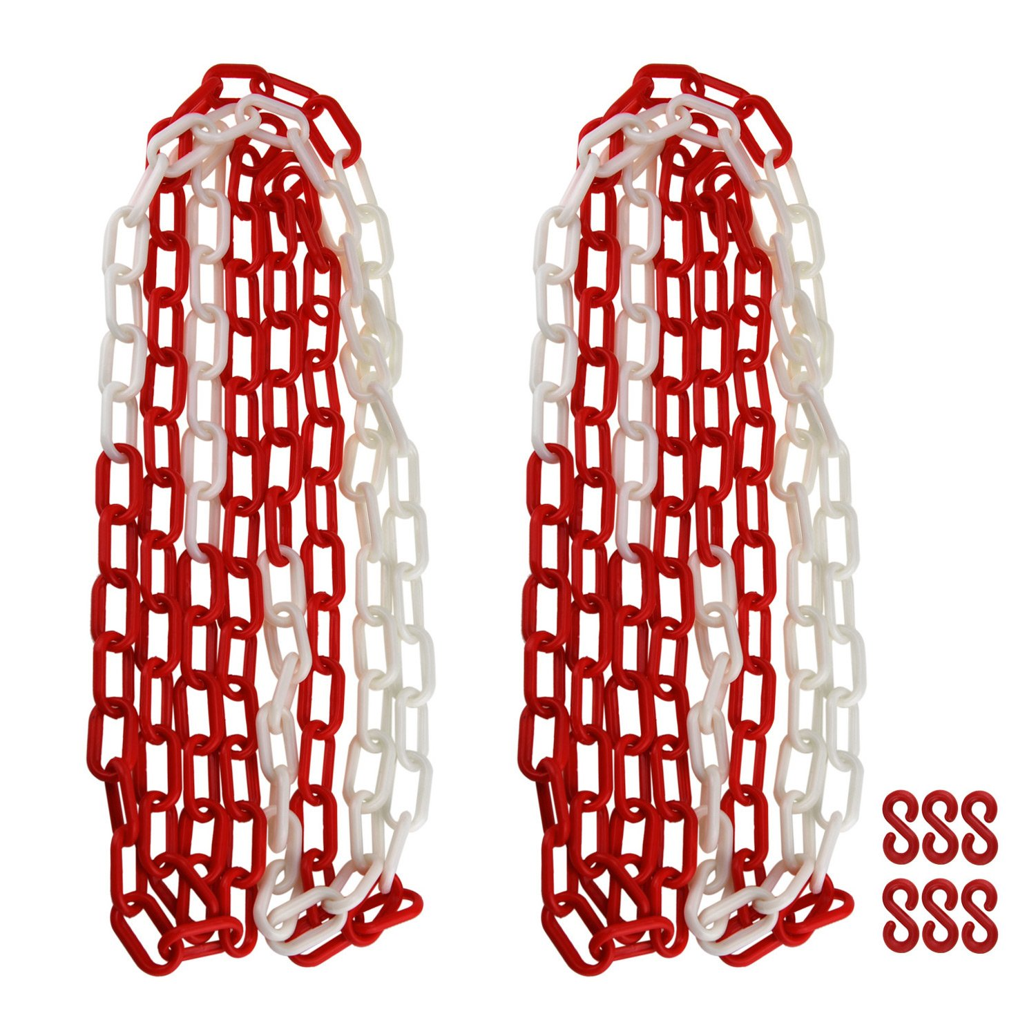NKTM 2 Pack Plastic Chain, 20 Feet Commercial Safety Barrier for Traffic, Crowd Control, Queue Line - White and Red