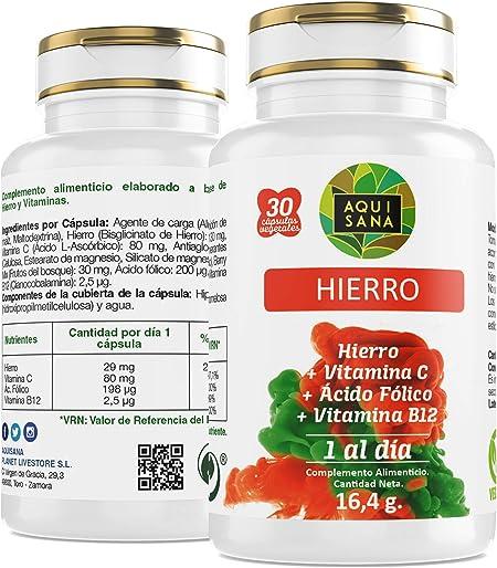 Hierro - Aquisana + Ácido Fólico | Suplemento Alimenticio con ...