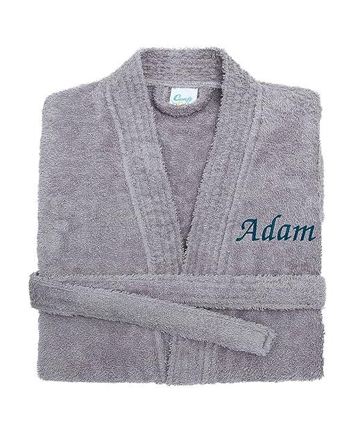 Harlequin Designs Personalizable Gris Kimono Albornoz de Toalla Bordado con diseño de Estampado de/Albornoz para Hombre: Amazon.es: Ropa y accesorios
