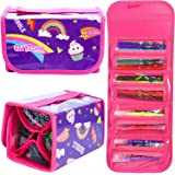 GirlZone : Fruit Scented Stationery Set, Fun Pencil Case Including 38 Fruit Scented Marker Pens. Great Birthday Present / Gift for Girls Age 5 6 7 8 9 10 11 12 Years Old.