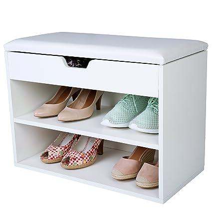 TRESKO® Armario zapatero para 6 pares de zapatos con asiento, tapa ...