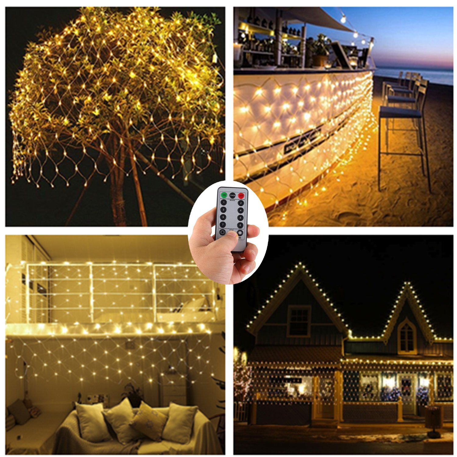 Battery Operated Led Net Mesh Lights,9.8ft x 6.6ft 200 Warm White LEDs,Outdoor String Decorative Lights for Window Wall Sweetheart Table Background Camping Beach [Remote,8 Mode,Timer,Dimmable]