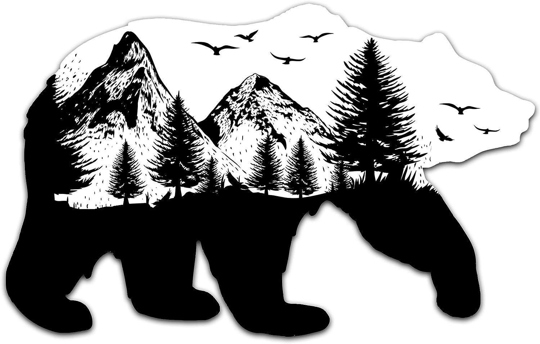 "NORTHERN DOCK Bear Decal Vinyl Black and White Bear Mountain Bumper Sticker (5"" Wide)"