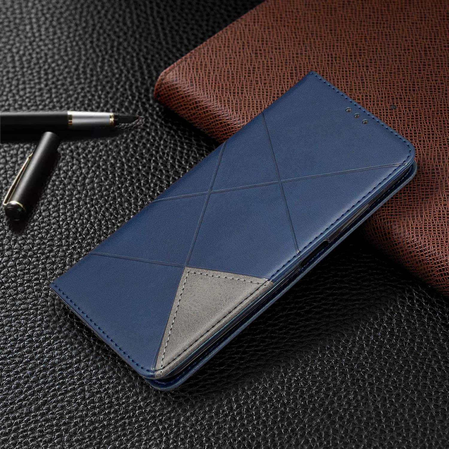 RuiJinHao iPhone7 /& iPhone8 Flip Case Leather Cover Extra-Shockproof Business Cell Phone case Rhombus Pattern 2 Card Slot Magnetic Closure Brown