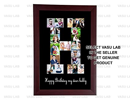 8in x 12in a to z personalized photo collage brown frame letter collage alphabetany