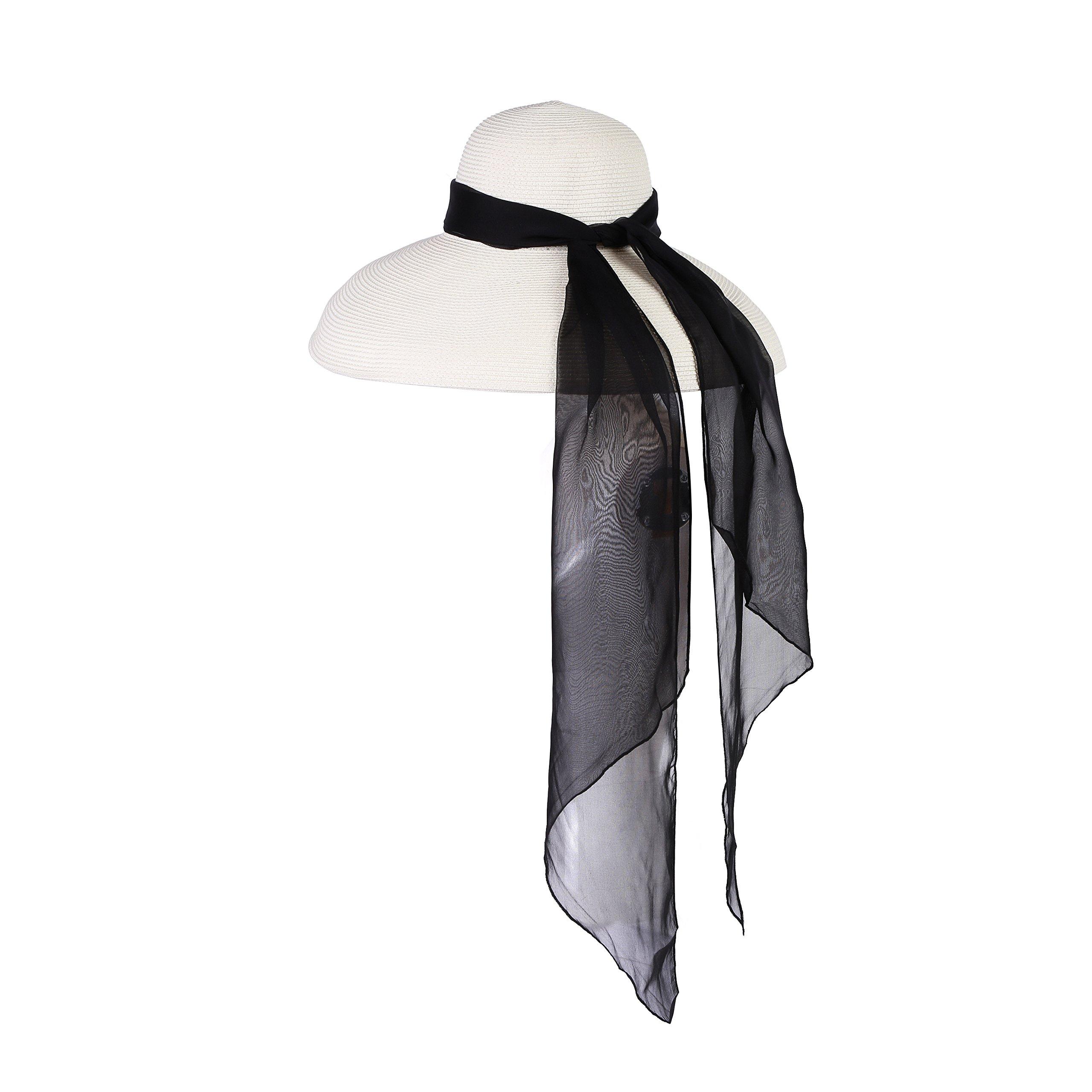 Utopiat Audrey Hepburn Oversized Holiday Travel Beach Straw Hat With Silk Chiffon Scarf In Midnight Black