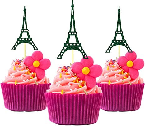 Paris Party Eiffel Tower First Birthday Photo Prop Pink and Silver Centerpiece Table Decoration Cake Topper
