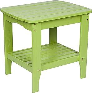 Shine Company Shine Co. Cedar Wood Weather Resistant Hydro-Tex Finish Adirondack Square Corner Lime Green 4113LG End Table