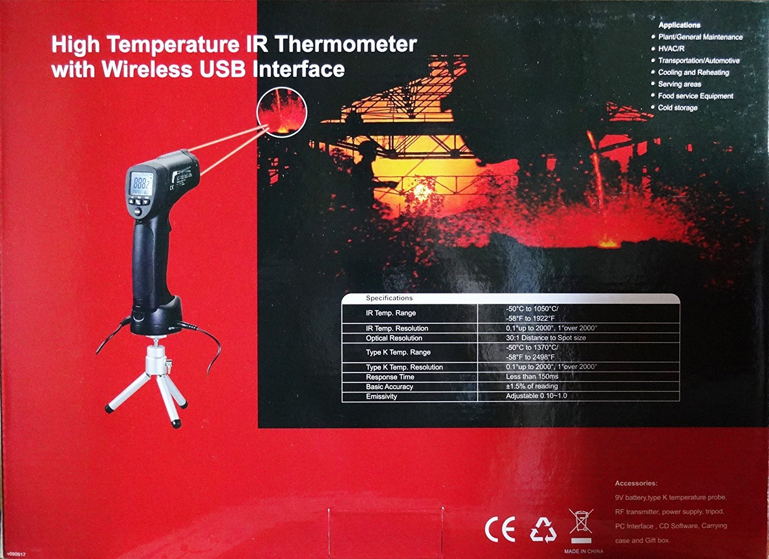 DT-8856 Professional 2in1 Dual Laser IR K Type Thermometer 1922 deg Wireless USB